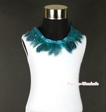 White Tank Top Shirt Exotic Peacock Blue Print Feather Lacing Pettitop NB-8Year