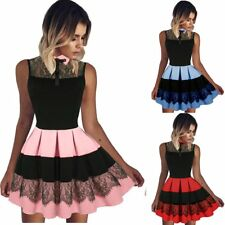Women Summer Casual Sleeveless Evening Party Cocktail Pleated Short Mini Dress
