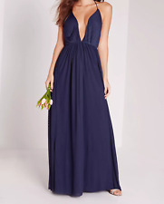 MISSGUIDED strappy pleated plunge maxi dress navy (M57/21)