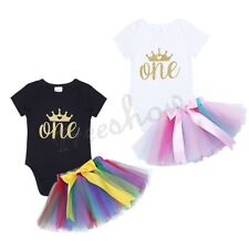 Infant Baby Girls Crown Romper Tutu Dress Birthday Halloween Party Cake Outfit