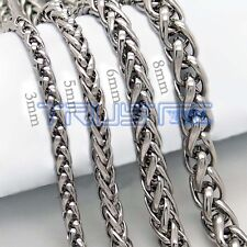 3/5/6/8/mm 20''-30''NEW Mens Chain Stainless Steel Black Tone Necklace