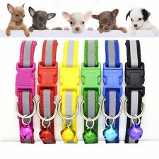 Soft Glossy Reflective Collar Pet Dogs Puppy Cat Kitten Safety Buckle Leash Bell