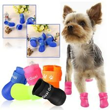 4Pcs Rubber Waterproof Anti-Slip Protective Puppy Pet Dog Rain Shoes Boots S/M/L