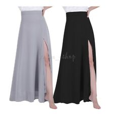 Women Chiffon Split Retro Maxi Long Skirt Evening Party Casual Skirt Dance Dress