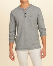 Abercrombie and Fitch – Hollister T-Shirt Men's Textured Terry Henley S Grey NWT
