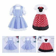 Fancy Kids Girls Polka Dots Plaid Halloween Costume Cosplay Dress Lace Party NEW