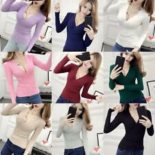Women's Casual Long Sleeve V Neck Knitted Sweater Jumper Cardigan Tops Knitwear