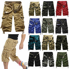 Men Boy Military Combat Camo Cargo Shorts Pants Work Casual Short  Army Trousers