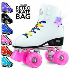 Crazy DISCO Roller LED Flashing Quad Roller Skates with PINK Retro Skate Bag !!!