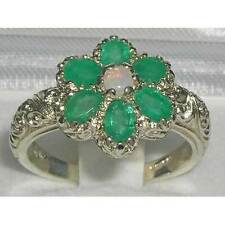 Solid English 925 Sterling Silver Fiery Opal & Emerald Art Nouveau Flower Ring