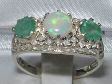 Solid 925 Sterling Silver Genuine Opal & Emerald English Filigree Trilogy Ring