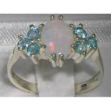 Ladies Contemporary Solid 925 Sterling Silver Natural Opal & Blue Topaz Ring