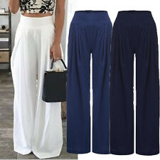 Women's Loose High Waist Wide Leg Flared Pant Trouser Palazzo Legging PLUS SIZE