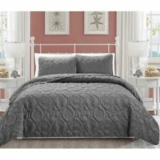 Queen King Bed Gray Grey Beach Coastal Seashells 3 pc Quilt Set Coverlet Bedding