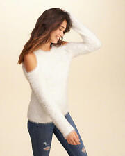 Abercrombie and Fitch Hollister Sweater Womens Cold Shoulder Fluffy L White NWT