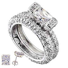 Sterling Silver White Gold Baguette Diamond cut Engagement Ring Wedding Set co