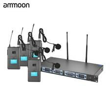 ammoon 4S 4 Channel UHF Wireless Lavalier Lapel Collar Clip-on Microphone J7M2