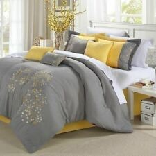 Queen King Bed Bag Gray Grey Yellow Embroidered Floral 8 pc Comforter Sheet Set