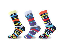 6 &12 Pairs Luxury Designer Mens Suit Striped Socks, Rich Polyester Mens Socks