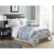 Twin Full Queen King Bed Blue Green Taupe Floral Geometric 7 pc Comforter Set