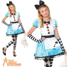 Girls Alice Costume Child Fairy Tale Fancy Dress Kids Book Day Outfit Age 6 - 10