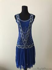 Royal Blue 1920s Flapper Dress | Beaded Sequin Gatsby Gown | NWT