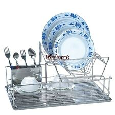 Stainless 2 Tier Dish Drying Rack Drainer Dryer Tray Storage Organizer Rack ES88