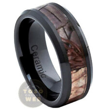 Men's 8mm Beveled Edge Black Ceramic Ring w/ Forest Camouflage Inlay CR3500