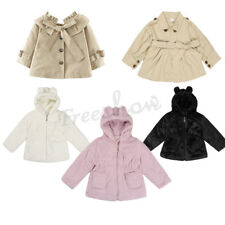 Baby Girls Faux Fur Hooded Trench Coat Winter Warm Thick Jacket Cloak Outerwear