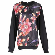 New Ladies Womens Round Neck Hoodies Printed Floral Black Swater Blouse Tops