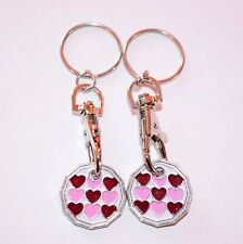HEART HEART ONE POUND COIN TOKEN KEYRING SHOPPING TROLLEY KEYRING One Free