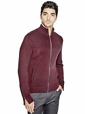 GUESS Sweater Cardigan Men's Mock Neck Jumper with Zip Cuffs S Burgundy NWT
