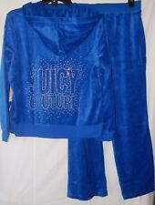 NWT JUICY COUTURE VELOUR EMBELLISHED HOODIE & BOOTCUT PANTS OLYMPIAN BLUE XL