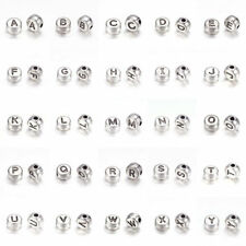 10pcs Flat Round Alloy Alphabet Metal Beads Letters Antique Silver Spacers 7x4mm