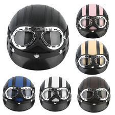 Motorcycle Scooter Open Face Half Synthetic Leather Helmet Visor UV Goggles CG