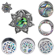 Ear Gauge Plugs Flesh Tunnels Stainless Steel & Abalone Shell Ear Stretching kit