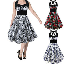 Womens 50s 60s Swing Vintage Retro Floral Housewife Pinup Rockabilly Party Dress