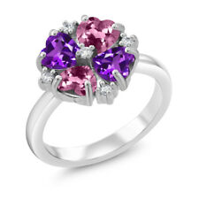 1.76 Ct Heart Shape Pink Tourmaline Purple Amethyst 925 Sterling Silver Ring