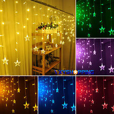 Star Fall Hanging Curtain String Light Fairy LED Lamp Bulbs Christmas Room Decor