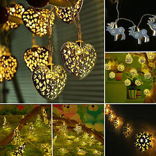 Warm White Battery Operated Metal LED Fairy String Lights Xmas Party Home Decor