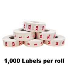 """3/4"""" Clothing Size Dot Stickers - Sizing Adhesive Labels - 1000 Per Roll, XS-3XL"""