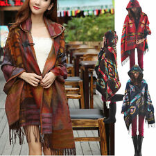 Women Bohemian Collar Plaid Cape Cloak Poncho Jacket Coat Shawl Scarf Cardigan