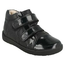 GIRLS CLARKS BLACK LEATHER PATENT TOE RIPTAPE CASUAL ANKLE BOOTS LILFOLK DOT