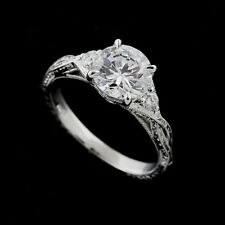 Hand Carved Diamonds Gold Engagement Ring 14k White Gold