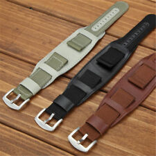 Mens Military Army Watch Band 20mm 22mm Nylon & Leather Bund Strap Cuff Bangle