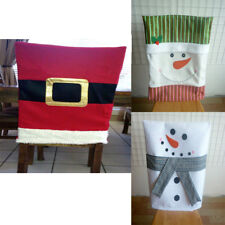Happy Christmas Belt Snowman Dining Chair Back Cover Xmas Home Party Table Decor