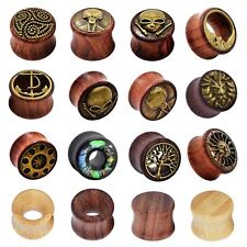 PAIR Natural Wood Ear Gauges Ear Tunnels Plugs Double Flared Ear Piercing 8-20mm