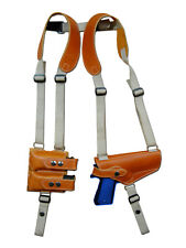NEW Barsony Tan Leather Shoulder Holster Dbl Mag Pouch Glock HK FN Full Size