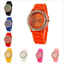 New Womens Girls Golden Crystal Stone Geneva Silicone Jelly Quartz Wrist Watch