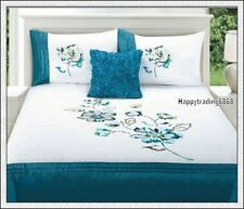 280TC White Turquoise Pintuck Flower Embroidery KING QUEEN QUILT DOONA COVER SET